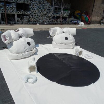 jeu de sumos en mousse et bâche PVC, Bonhomme de neige, avec accessoires