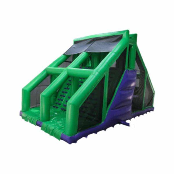 Structure gonflable obstacle pour course Base Jump géant avec toboggan et chute libre. Fabrication européenne - Lukylud.