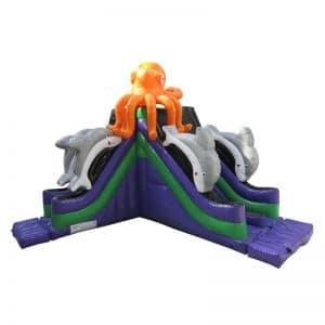 Toboggan gonflable ventilé pour bord de piscine, décoré pieuvre.