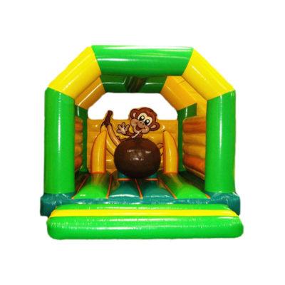 Château gonflable professionnel pas cher décoré singe.