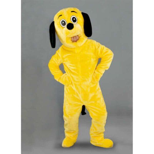 mascotte chien jaune tete ouverte