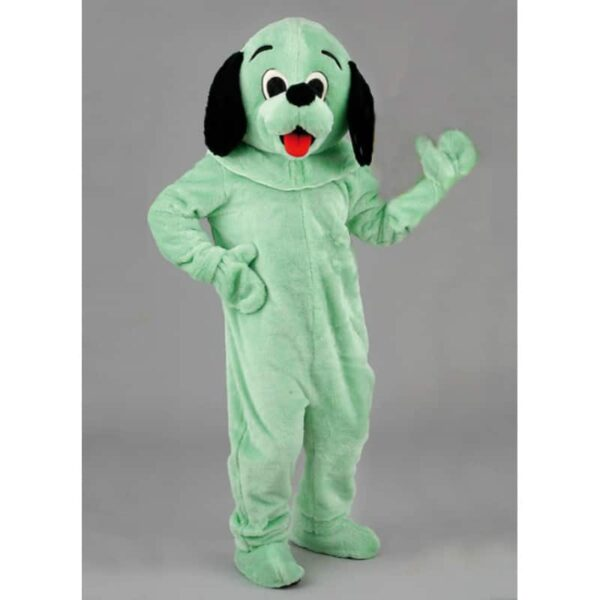 mascotte chien vert