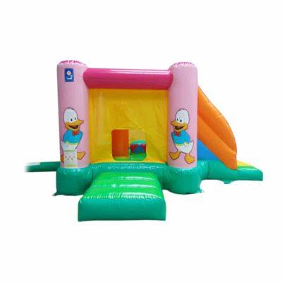 Structure gonflable petite enfance, mini cartoons, avec obstacles et toboggan gonflable. Fabrication européenne - Lukylud.