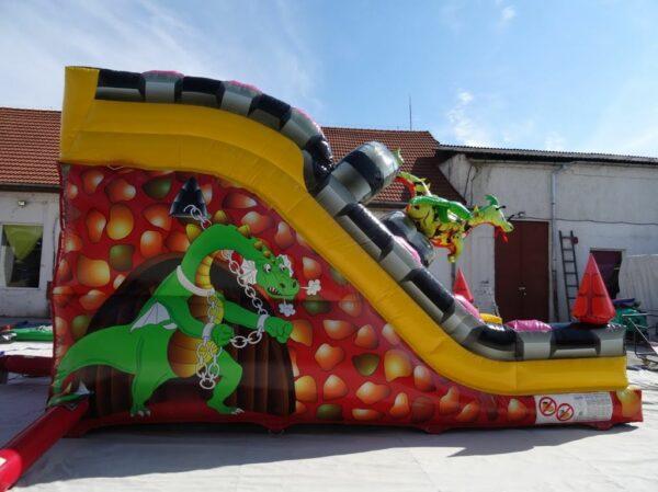 Structure gonflable toboggan gonflable double piste décoré dragon en 3D. Fabrication européenne - Lukylud.