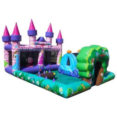Structure gonflable, aire de jeux gonflable play zone avec bain de boules, matelas à sauter, toboggan et balles en suspension. Fabrication européenne - Lukylud.