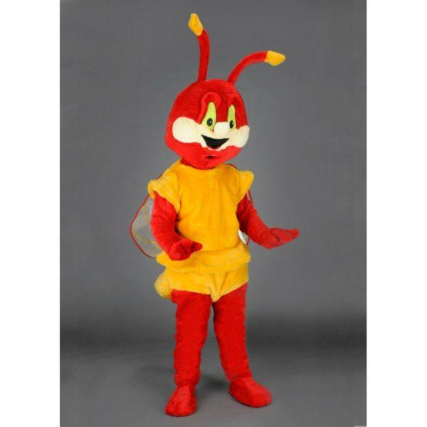 Costume peluche de qualité ou mascotte pour se déguiser en bestiole rouge ou cigale