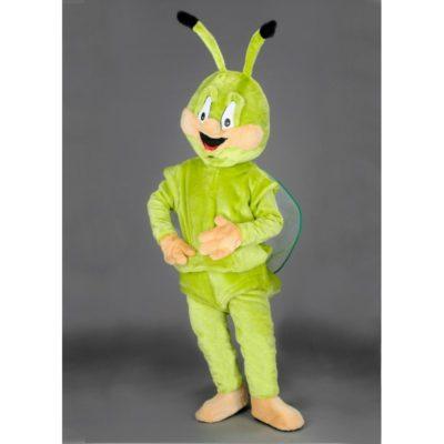 Costume peluche de qualité ou mascotte pour se déguiser en bestiole verte ou cigale.