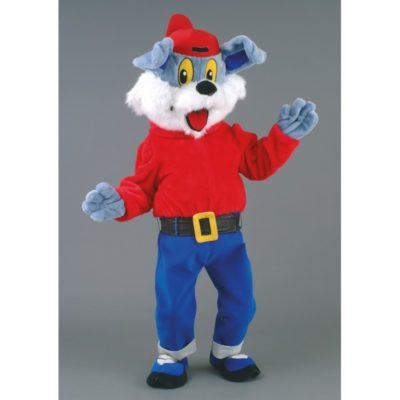 Costume peluche de qualité ou mascotte pour se déguiser en chien avec une casquette.
