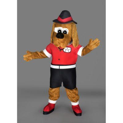 Costume peluche de qualité ou mascotte pour se déguiser en chien avec un chapeau.