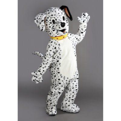 Costume peluche de qualité ou mascotte pour se déguiser en chien dalmatien.