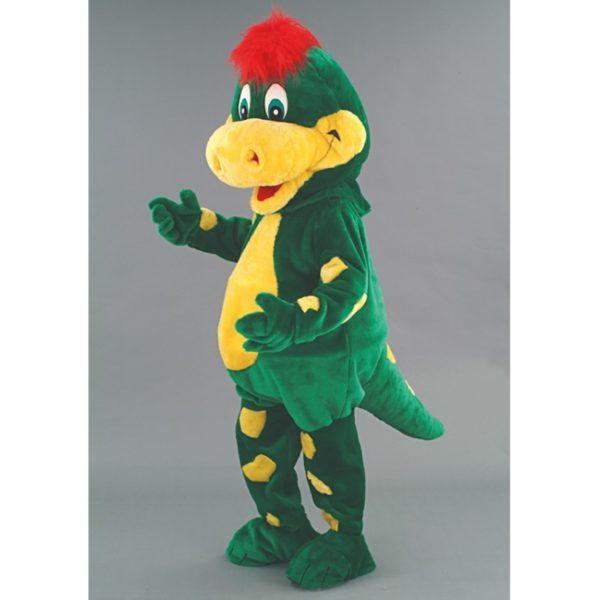 Costume peluche de qualité ou mascotte pour se déguiser en dragon avec une crête rouge.