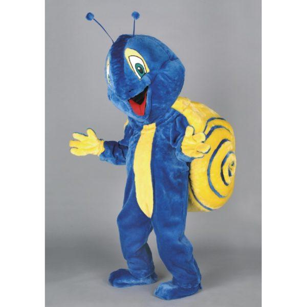 Costume peluche de qualité ou mascotte pour se déguiser en escargot bleu.