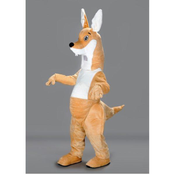 Costume peluche de qualité ou mascotte pour se déguiser en kangourou sauteur.
