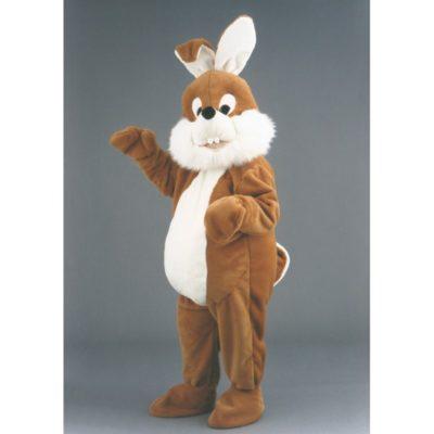 Costume peluche de qualité ou mascotte pour se déguiser en lapin brun.