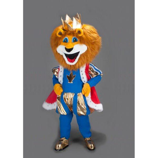 Costume peluche de qualité ou mascotte pour se déguiser en lion royal bleu et or.