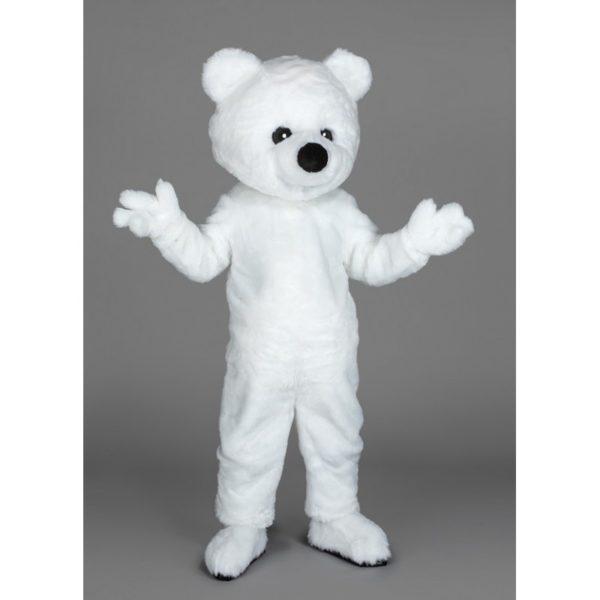 Costume peluche de qualité ou mascotte pour se déguiser en ours blanc.