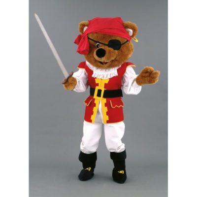 Costume peluche de qualité ou mascotte pour se déguiser en ours pirate.