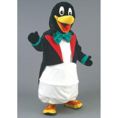 Costume peluche de qualité ou mascotte pour se déguiser en pingouin avec une queue de pie.