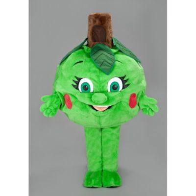 Costume peluche de qualité ou mascotte pour se déguiser en pomme verte.