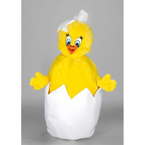 Costume peluche de qualité ou mascotte pour se déguiser en poussin qui sort de son œuf.