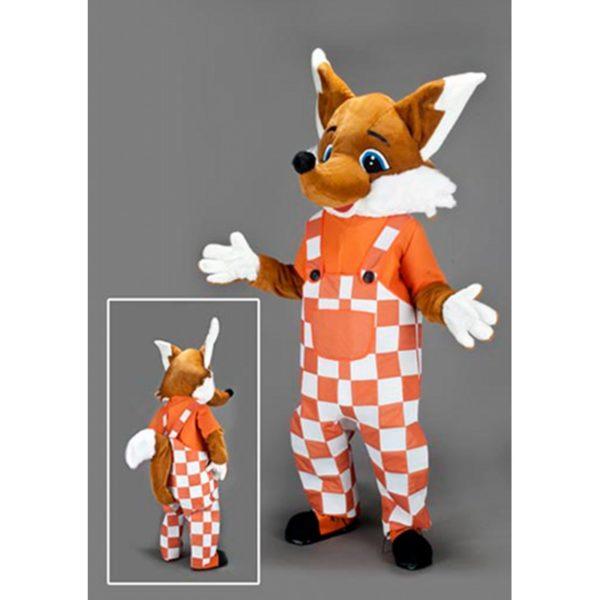 Costume peluche de qualité ou mascotte pour se déguiser en renard salopette.