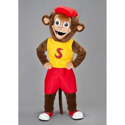 Costume peluche de qualité ou mascotte pour se déguiser en singe avec une casquette.