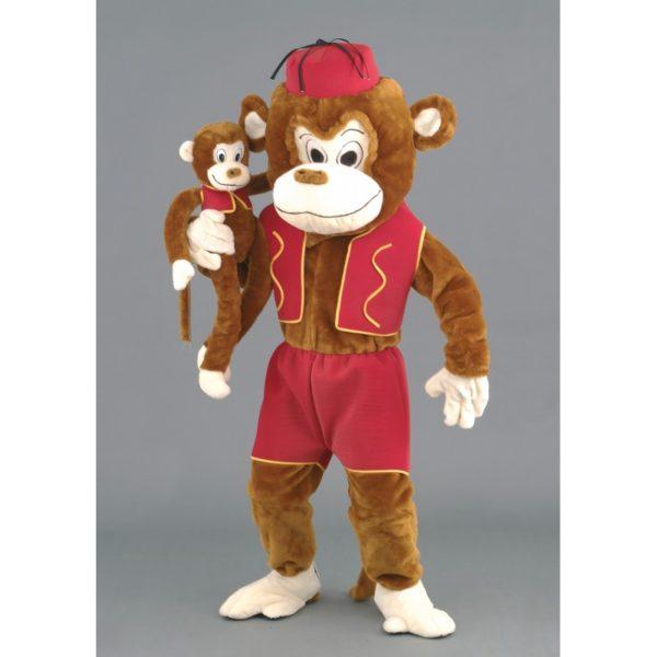 Costume peluche de qualité ou mascotte pour se déguiser en singe avec sa marionnette.