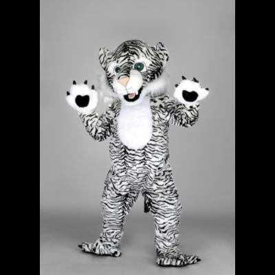 Costume peluche de qualité ou mascotte pour se déguiser en tigre blanc.