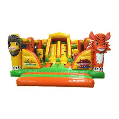 Matelas de jeux gonflable décoré jungle avec de très nombreux animaux de la savane.