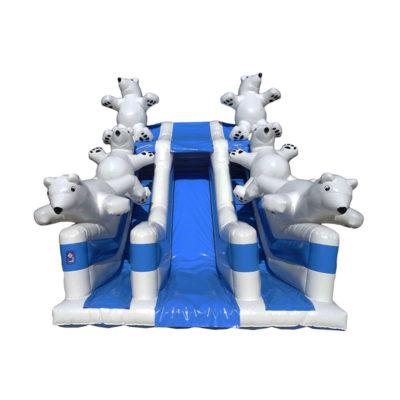 Toboggan gonflable ours polaire avec une descente centrale et 6 ours en 3 dimensions qui glissent sur les murs.