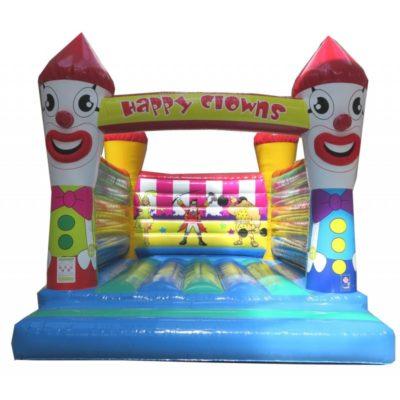 Château gonflable géant happy clowns sans bâche de toit.