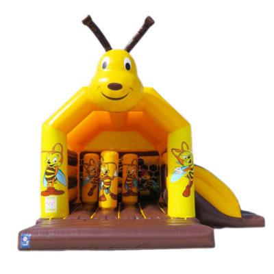 Combo abeille gonflable avec obstacles de jeux et toboggan gonflable.
