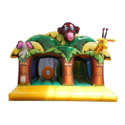 Combo gonflable zoo en folie avec obstacle de jeu et toboggan gonflable.