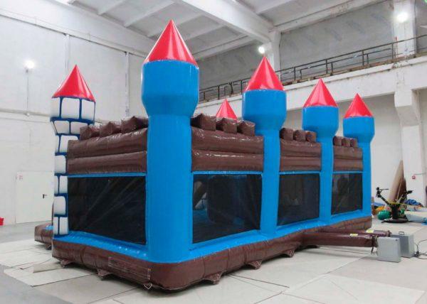 Complexe gonflable château fort géant avec deux toboggans gonflables
