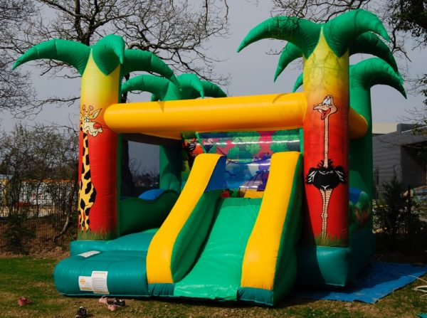 Jungle fun palmiers complexe gonflable avec toboggan gonflable.