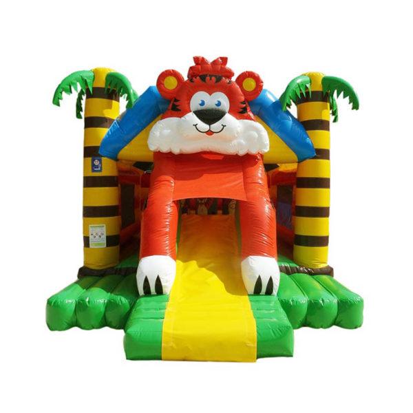 Structure gonflable combo tigre avec jeux et toboggan.