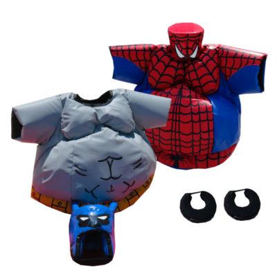 Déguisement sumo combat enfants Batman contre Spiderman